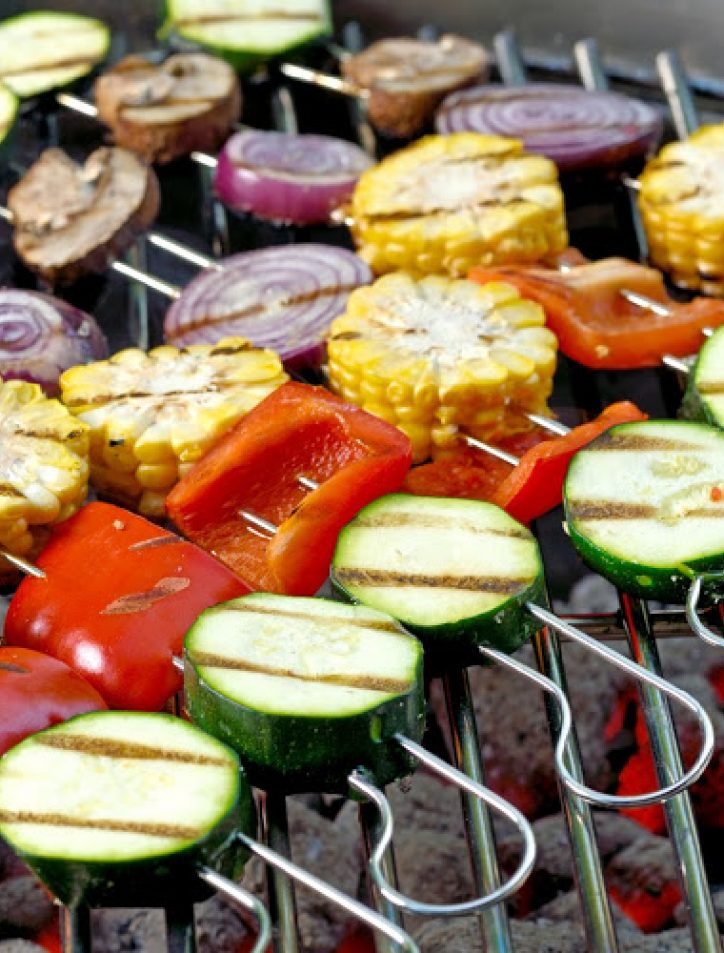 vegetables on kabobs on grill