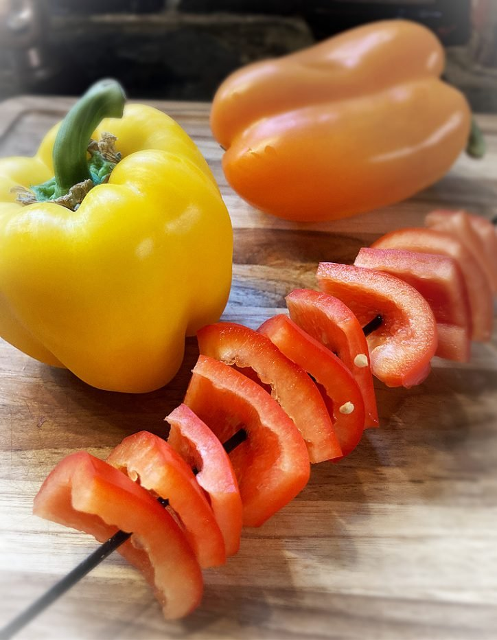 yellow orange and red pepper