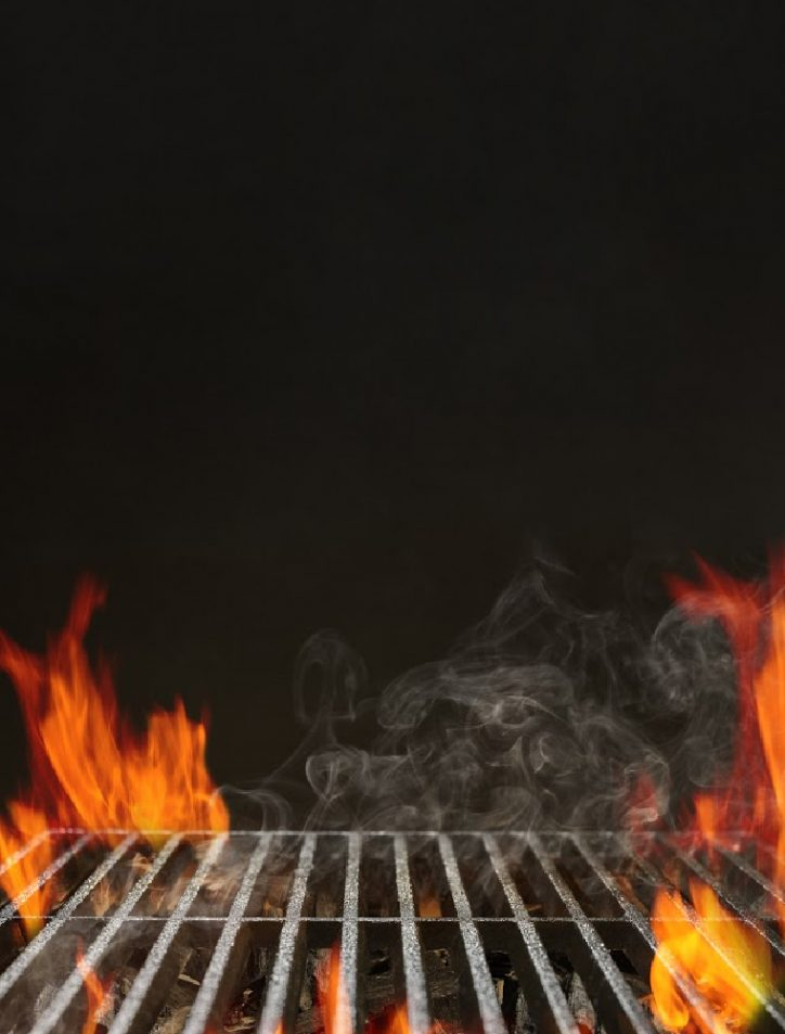 fire on grill