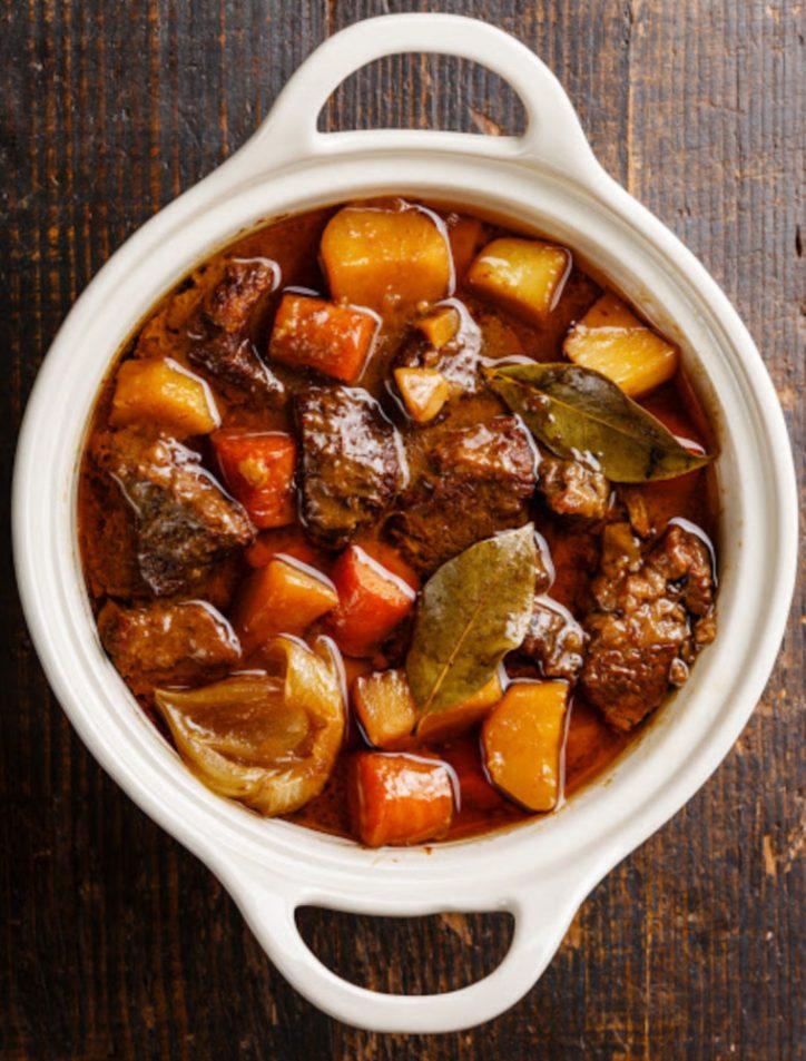 Bowl of pressure cooker beef stew