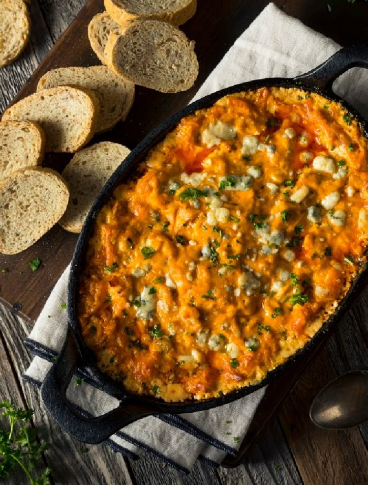 pressure cooker buffalo chicken dip on table