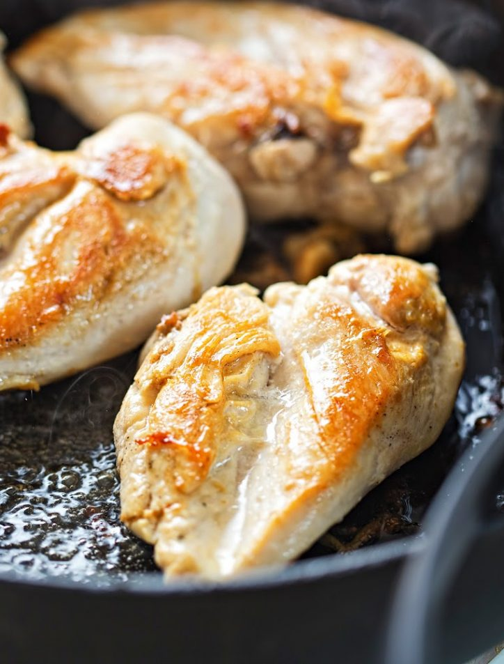 Close up of chicken breasts in a skillet