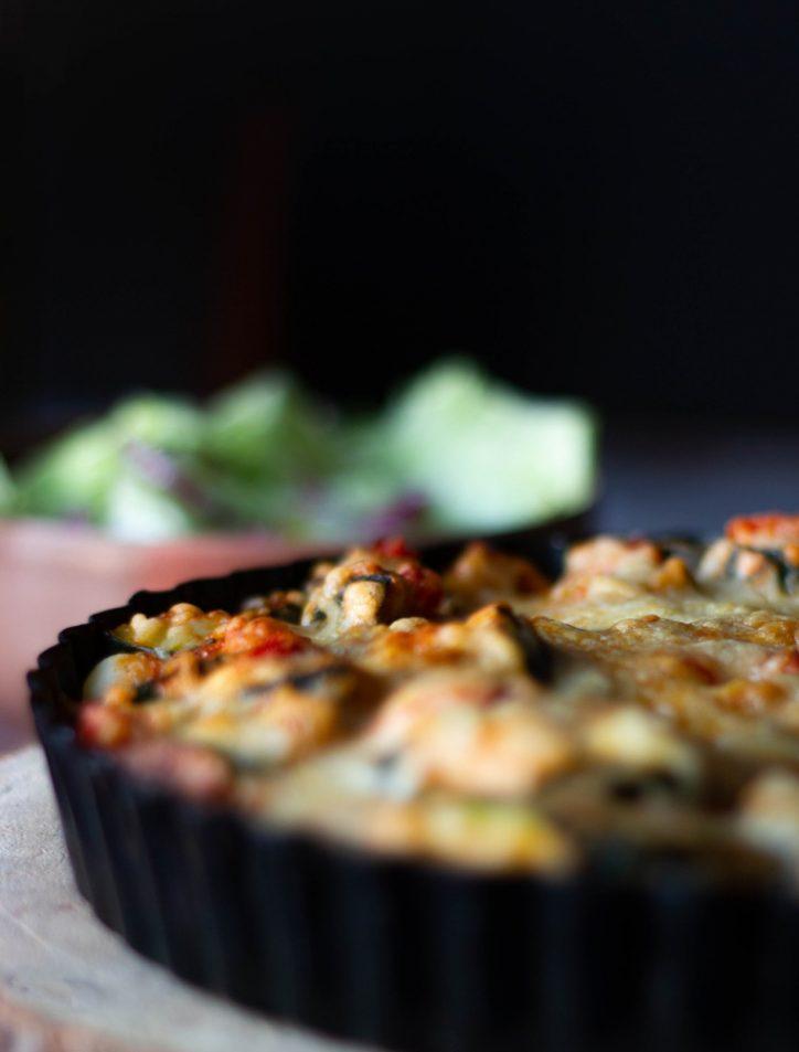 cast iron pan of food